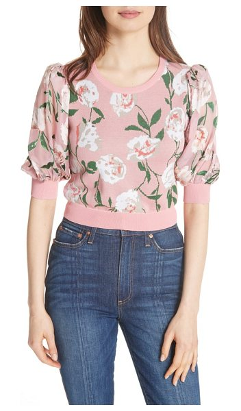 Alice + Olivia brandy floral puff crop sweater in peony garden wall/ bubblegum - A pastel, floral-print pullover with lots of pairing...