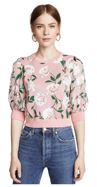 ALICE + OLIVIA brandy sweater in peony garden wall/bubblegum - Fabric: Knit Chiffon sleeves Floral print Cropped...