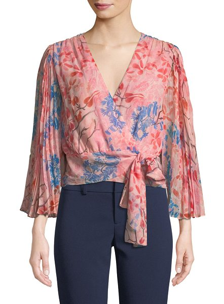 "Alice + Olivia Bray Pleated-Sleeve Floral-Print Silk Wrap Blouse in pink pattern - Alice + Olivia ""Bray"" floral-print silk blouse. V..."