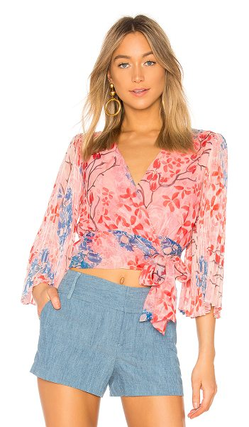 Alice + Olivia Bray Wrap Top in pink - Self: 100% silkCombo: 100% polyLining: 94% poly 6%...