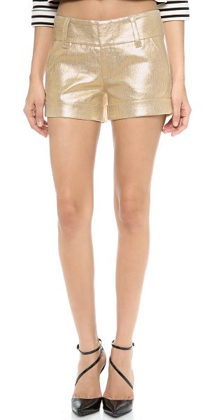 Alice + Olivia Cady cuff metallic short in gold - These metallic linen shorts feature slant hip pockets...