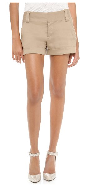 Alice + Olivia cady cuff shorts in khaki - These cuffed shorts feature slant front pockets and welt...