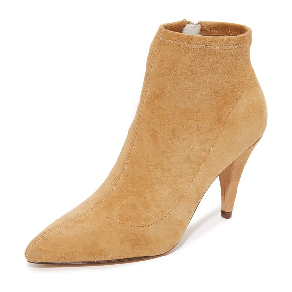 Alice + Olivia camryn booties in tan - Luxe stretch suede alice + olivia booties styled with a...
