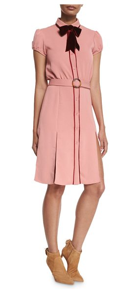 "Alice + Olivia Carie Bow-Neck Belted Shirtdress in pink - Alice + Olivia ""Carie"" shirtdress with contrast piping..."