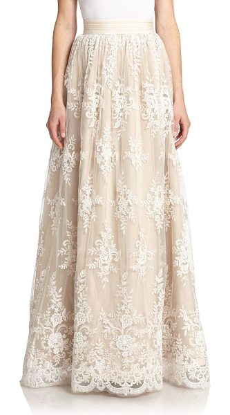 Alice + Olivia Carter lace-overlay maxi skirt in white-nude - An exquisite, stand-out piece, this flowing maxi skirt...