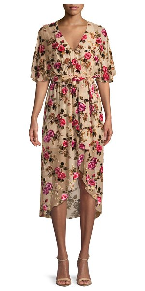 """Alice + Olivia Clarine Floral-Burnout Wrap Dress with Oversize Sleeves in neutral pattern - Alice + Olivia """"Clarine"""" dress in floral-pattern devor...."""
