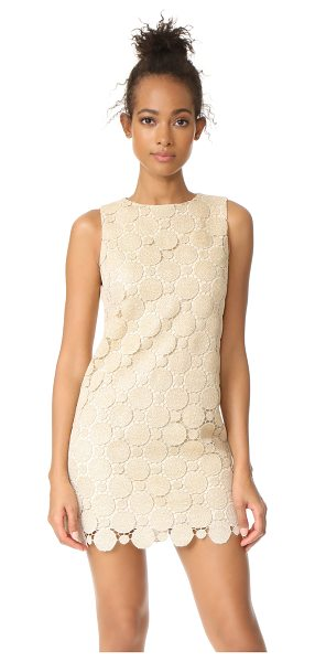 Alice + Olivia clyde a-line shift dress in gold - Shimmering metallic threads detail the guipure lace...