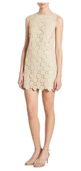 Alice + Olivia clyde metallic lace shift dress in gold - A-line shift dress in shimmering medallion lace....