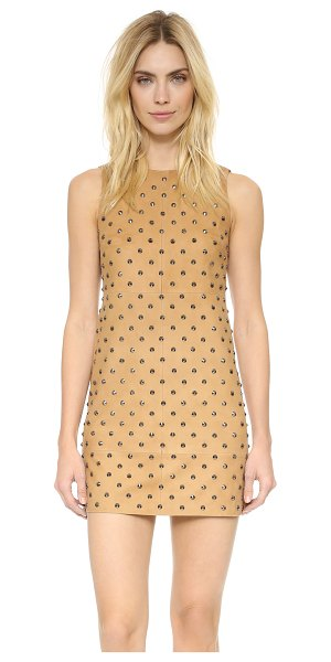 Alice + Olivia Clyde studded suede dress in tan/gunmetal - Cone studs shine from plush suede on this alice + olivia...