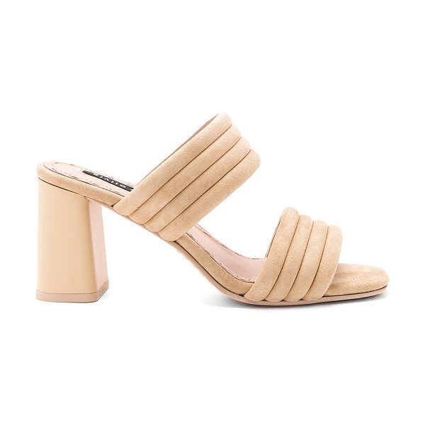 Alice + Olivia Colby Heel in nude prime suede - Suede upper with leather sole. Slip-on styling. Heel...