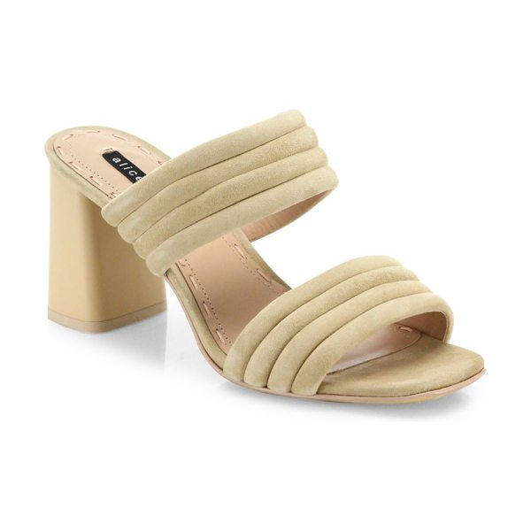 Alice + Olivia colby suede block heel slide sandals in nude - Sleek sandals with attractive lacquered cork heel....