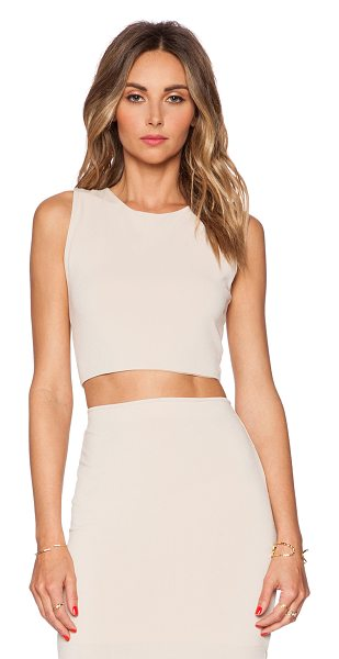 Alice + Olivia Crop tank in beige - Viscose blend. Back cut-out with twist detail. Exposed...