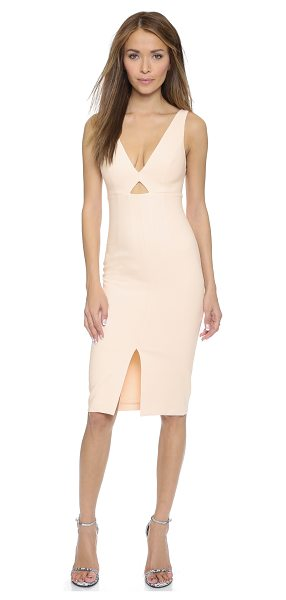 Alice + Olivia Dash v neck slit fitted dress in pale blush - This formfitting alice + olivia dress has a centered...