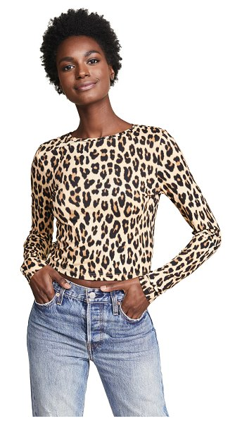Alice + Olivia deliana top in textured/leopard - Fabric: Slinky stretch jersey Leopard print Cropped...