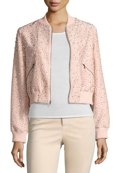 Alice + Olivia Demia Embellished Silk Cropped Bomber Jacket in light pink - ONLYATNM Only Here. Only Ours. Exclusively for You....