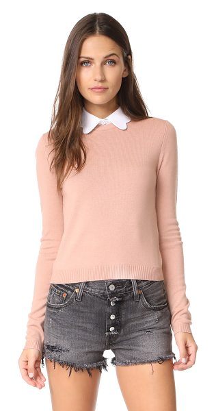 Alice + Olivia dia scallop sweater in rose tan - Exclusive to Shopbop. An optional fold-over collar with...