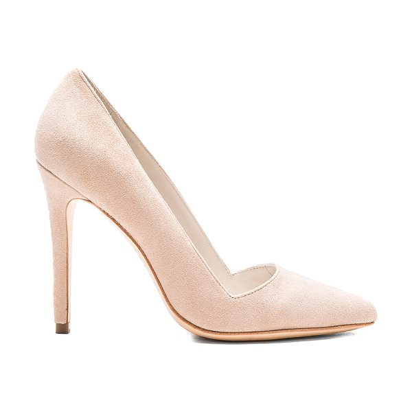Alice + Olivia Dina heel in beige - Suede upper with leather sole. Back stitch detail. Heel...