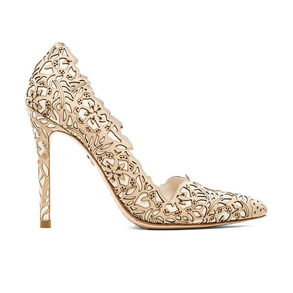 "ALICE + OLIVIA Dina rose laser cut heel - Leather upper and sole. Heel measures approx 4"""" H...."