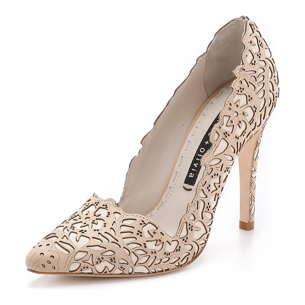 Alice + Olivia Dina rose laser pumps in tan - A laser cut floral pattern and angular top line bring a...