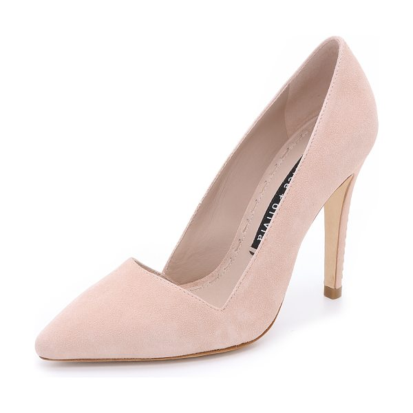 Alice + Olivia Dina suede pumps in nude lips - An angular top line and pointed toe lend a polished look...