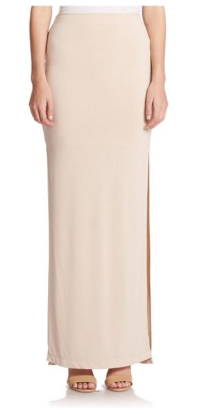 Alice + Olivia Double-slit maxi skirt in nude - Side slits lend skin-baring edge to this ultra-sleek...