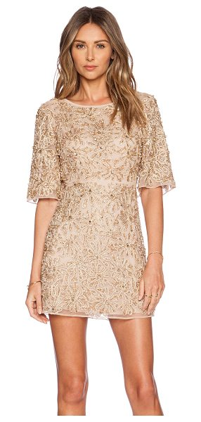 Alice + Olivia Drina embellished dress in beige - Nylon blend. Dry clean only. Fully lined. Lace applique...