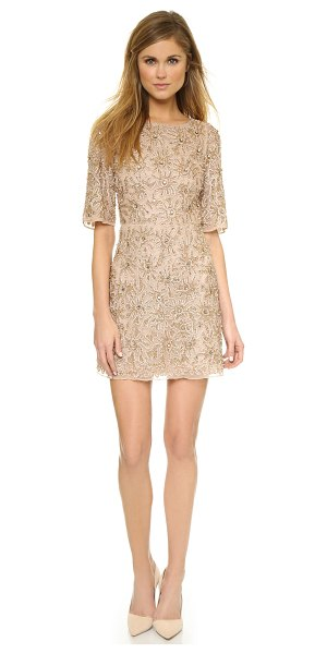 Alice + Olivia Drina embellished dress in nude/rose gold - A lavish floral print rendered in tonal beading lends a...