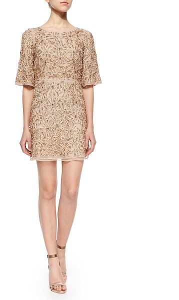 Alice + Olivia Drina Embellished Mesh Dress in nude/rose gold - Alice + Olivia Drina dress in floral-embellished, beaded...