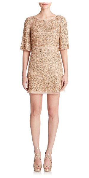 ALICE + OLIVIA Drina rhinestone floral-embroidered dress in nude-rosegold - Perennially chic in an effortlessly flattering, fluid...