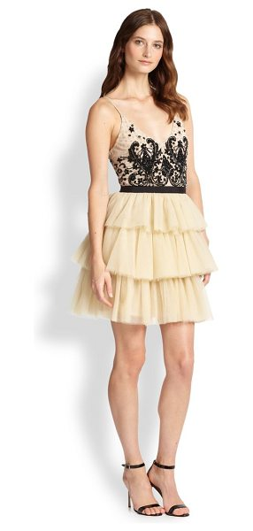 ALICE + OLIVIA Drury spaghetti-strap tiered dress - A stunning embroidered lace bodice with slender straps...