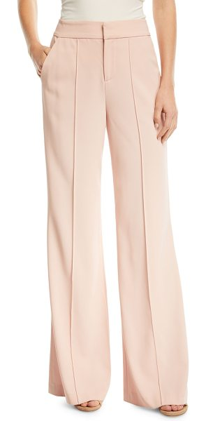 "Alice + Olivia Dylan High-Waist Wide-Leg Pants w/ Pintucking in pink - Alice + Olivia ""Dylan"" pants with pintucking down front...."