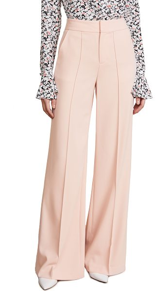 Alice + Olivia dylan high waisted leg pants in blush - Fabric: Crepe suiting Seamed creases Trouser styling...