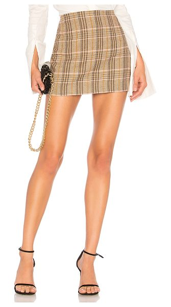 "Alice + Olivia Elana Mini Skirt in brown - ""Self: 35% cotton 35% viscose 15% wool 14% poly 1%..."