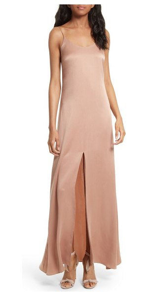 Alice + Olivia elza front slit maxi slipdress in rose tan - From the delicate straps to the daring front slit, a...
