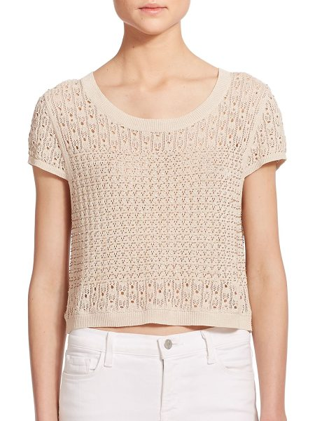 Alice + Olivia Ester beaded pointelle knit crop top in tan - The airy open-work patterns of pointelle knit makes for...