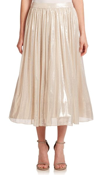 Alice + Olivia Evita pleated midi skirt in silvermetallic - Light-catching metallic fabric enlivens this midi...