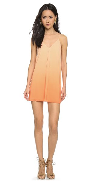 Alice + Olivia Fierra dress in melon/coral ombre - An inverted center pleat adds movement to an airy silk...