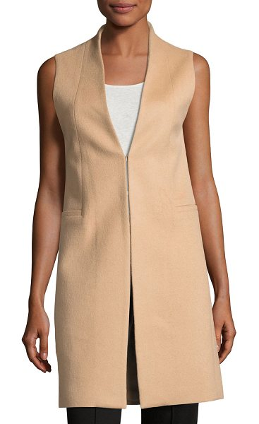 "Alice + Olivia Flynn Seamed Wool-Blend Vest in camel - Alice + Olivia ""Flynn"" vest in wool-blend with clean..."