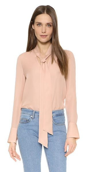 Alice + Olivia Freddie long sleeve tie neck blouse in dusty pink - A tonal bow accents the deep V neckline on this airy...