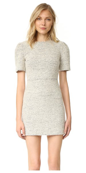 Alice + Olivia genny pouf sleeve dress in cream/multi - An alice + olivia sheath dress in a soft mohair blend....