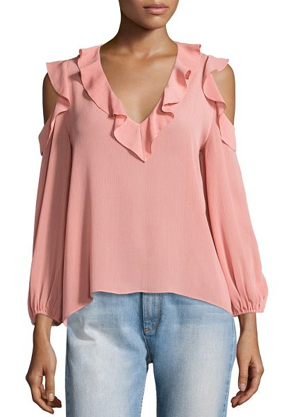"""Alice + Olivia Gia Cold-Shoulder Ruffle Blouse in light pink - Alice + Olivia """"Gia"""" gauzy blouse with ruffle trim at..."""