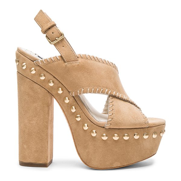 Alice + Olivia Giana heel in tan - Suede upper with leather sole. Ankle strap with buckle...