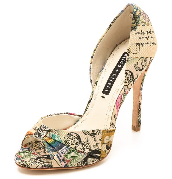 Alice + Olivia Gigi travel dorsay pumps in natural multi - A cheery travel theme lends a playful feel to faille...