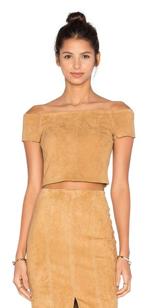 Alice + Olivia Gracelyn Top in tan - Self: 100% lamb leatherLining: 94% poly 6% elastane....