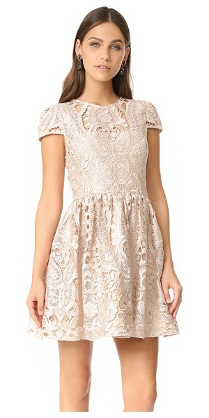 Alice + Olivia gracia full cap sleeve dress in nude pink - NOTE: Runs true to size. Delicate, lustrous lace...