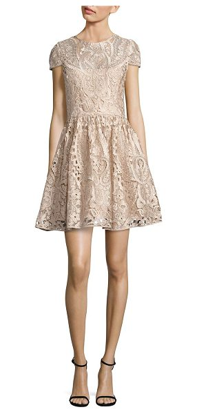 Alice + Olivia gracia lace fit-&-flare dress in nude pink - Fit-&-flare style in floral-and-paisley lace. Jewelneck....