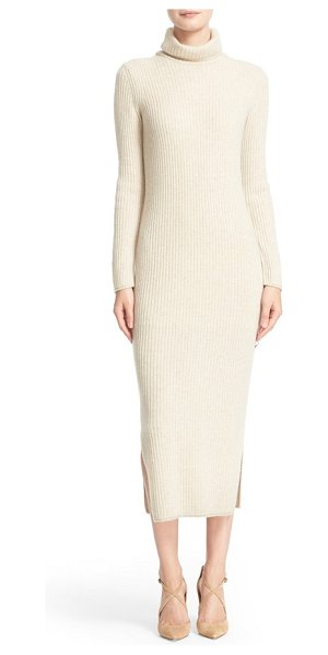 ALICE + OLIVIA 'gwen' wool & cashmere ribbed turtleneck dress in oatmeal - Vertical ribbing enhances the long, lean lines and adds...