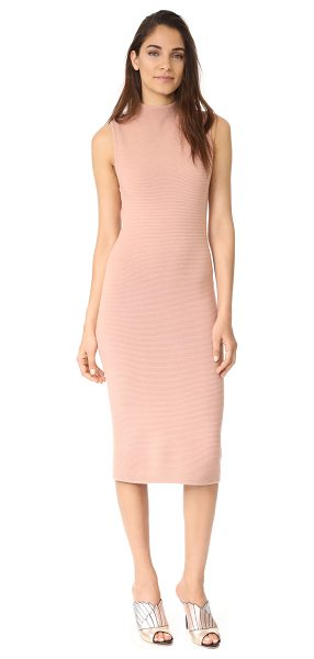 Alice + Olivia hana dress in rose tan - A luxe, ribbed alice + olivia dress with a clinging...