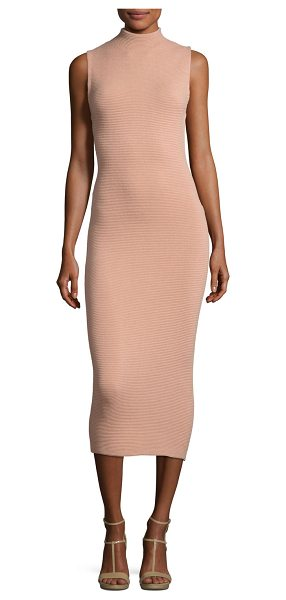 "Alice + Olivia Hana Mock-Neck Sleeveless Midi Dress in tan - Alice + Olivia ""Hana"" ribbed knit dress. Mock neckline...."