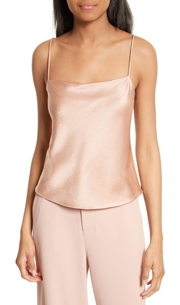 Alice + Olivia harmon drapey camisole in rose tan - Thin tubular straps and a softly draped neckline begin a...